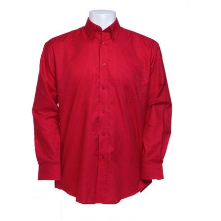 Men`s Workwear Oxford Shirt Long Sleeve in Red von Kustom Kit (Artnum: K351