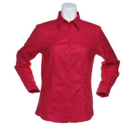 Women`s Workwear Oxford Shirt Long Sleeve in Red von Kustom Kit (Artnum: K361