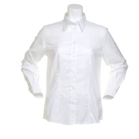 Women`s Workwear Oxford Shirt Long Sleeve in White von Kustom Kit (Artnum: K361