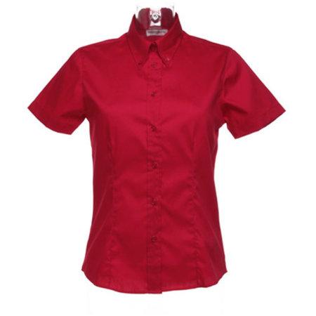 Women`s Corporate Oxford Shirt Short Sleeve in Red von Kustom Kit (Artnum: K701
