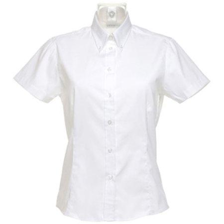 Women`s Corporate Oxford Shirt Short Sleeve in White von Kustom Kit (Artnum: K701