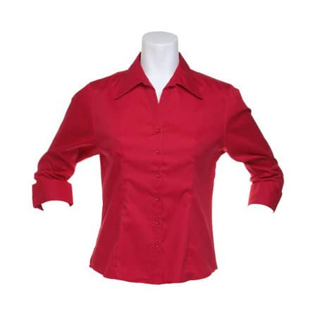 Womens Corporate Oxford Shirt 3/4-Slee in Red von Kustom Kit (Artnum: K710