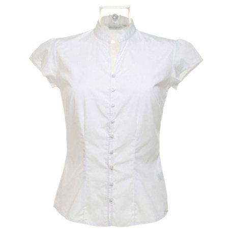 Poplin Contintental Blouse Mandarin Collar Cap Sleeve in White von Kustom Kit (Artnum: K727