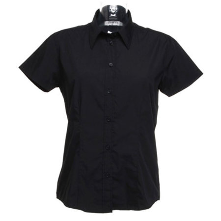 Women`s Workforce Poplin Shirt Short Sleeve in Black von Kustom Kit (Artnum: K728