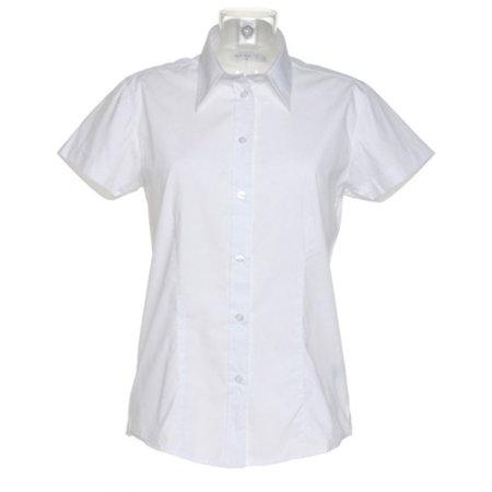 Women`s Workforce Poplin Shirt Short Sleeve in White von Kustom Kit (Artnum: K728