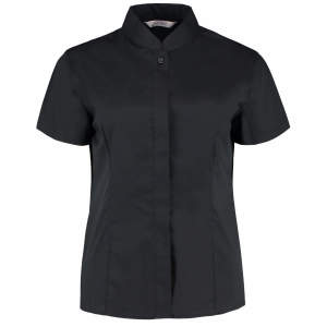Women`s Bar Shirt Mandarin Collar Short Sleeve