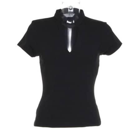 Corporate Top V Neck Mandarin Collar in Black von Kustom Kit (Artnum: K770