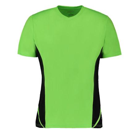 Men`s Team Top V Neck Short Sleeve in Fluorescent Lime|Black von Gamegear Cooltex (Artnum: K969