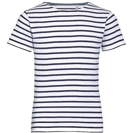 Kids` Round Neck Striped T-Shirt Miles in White|Navy von SOL´S (Artnum: L01400