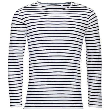 Men`s Long Sleeve Striped T-Shirt Marine von SOL´S (Artnum: L01402