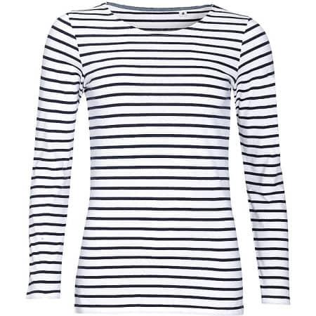 Women`s Long Sleeve Striped T-Shirt Marine in White|Navy von SOL´S (Artnum: L01403