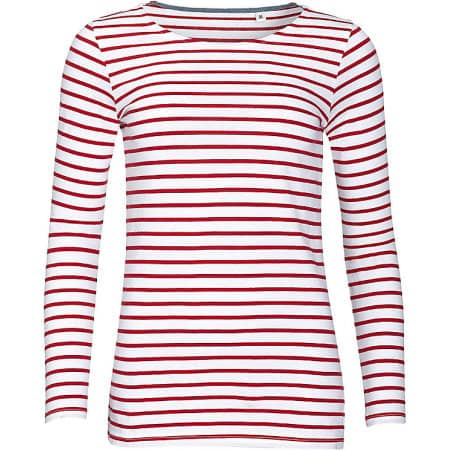 Women`s Long Sleeve Striped T-Shirt Marine von SOL´S (Artnum: L01403