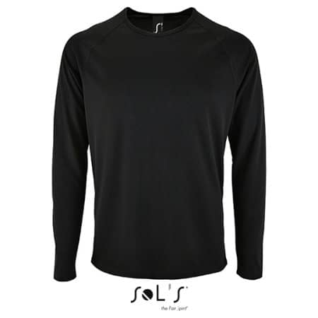 Men`s Long-Sleeve Sports T-Shirt Sporty in Black von SOL´S (Artnum: L02071