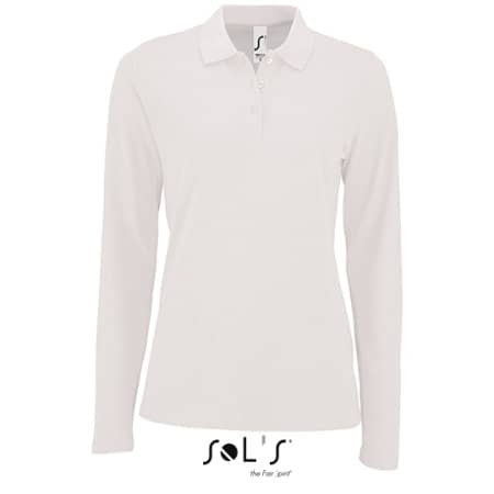 Women`s Long-Sleeve Piqué Polo Shirt Perfect in White von SOL´S (Artnum: L02083