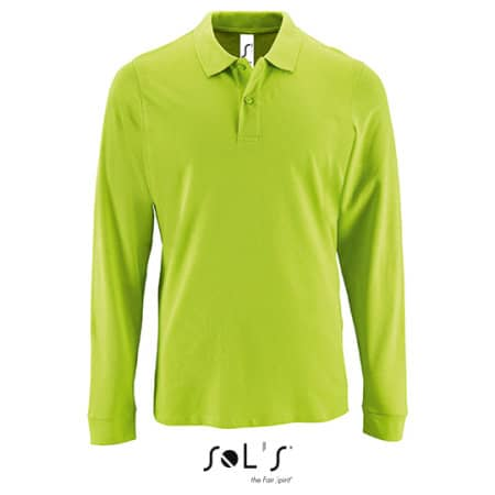 Men`s Long-Sleeve Piqué Polo Shirt Perfect in Apple Green von SOL´S (Artnum: L02087