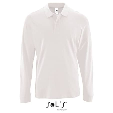 Men`s Long-Sleeve Piqué Polo Shirt Perfect in White von SOL´S (Artnum: L02087