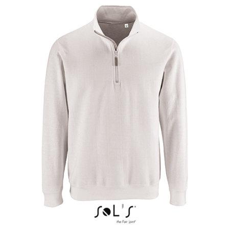 Men`s Zip High Collar Sweatshirt Stan in White von SOL´S (Artnum: L02088