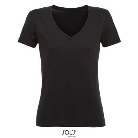 Women´s Flowy V-Neck T-Shirt Motion in Deep Black von SOL´S (Artnum: L03098