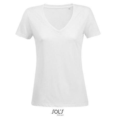 Women´s Flowy V-Neck T-Shirt Motion in White von SOL´S (Artnum: L03098