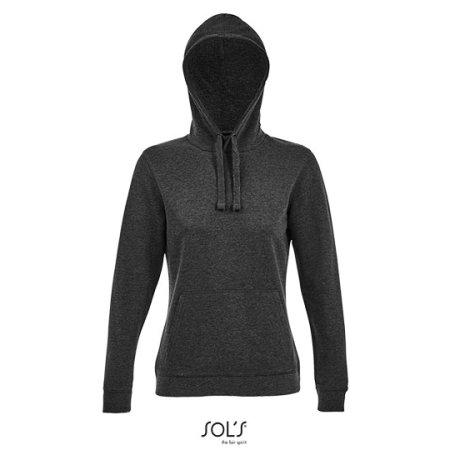 Women´s Hooded Sweatshirt Spencer in Heather Charcoal Melange von SOL´S (Artnum: L03103
