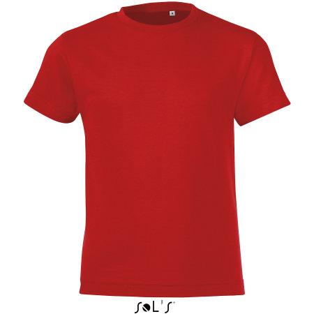 Kids` Round Collar T-Shirt Regent Fit in Red von SOL´S (Artnum: L149K