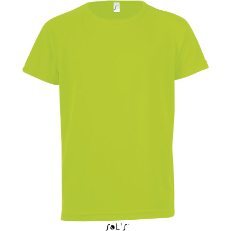 Kids` Raglan Sleeved T-Shirt Sporty in Neon Green von SOL´S (Artnum: L198K