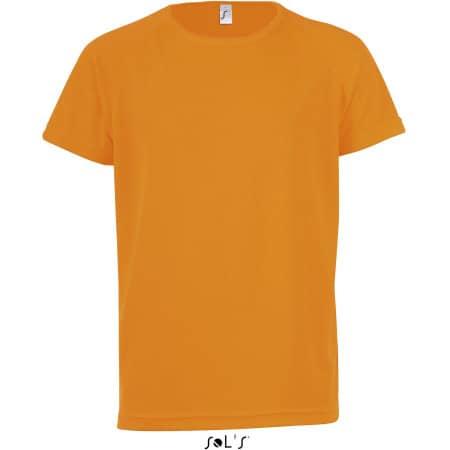 Kids` Raglan Sleeved T-Shirt Sporty in Neon Orange von SOL´S (Artnum: L198K