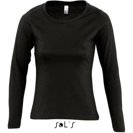 Women`s Long Sleeves-T Majestic in Deep Black von SOL´S (Artnum: L245