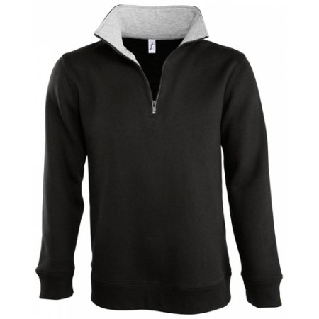 Men Sweat Shirt Scott 1/4 Zip in Black Grey Melange von SOL´S (Artnum: L312