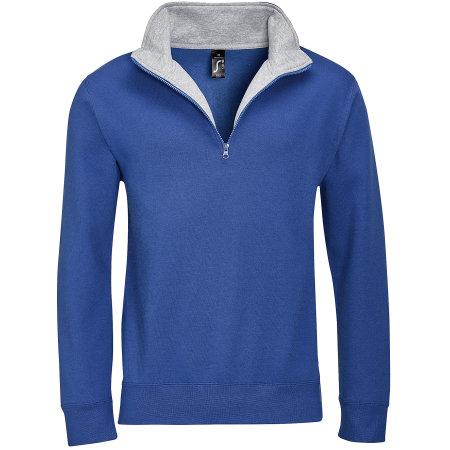 Men Sweat Shirt Scott 1/4 Zip in Royal Blue|Grey Melange von SOL´S (Artnum: L312