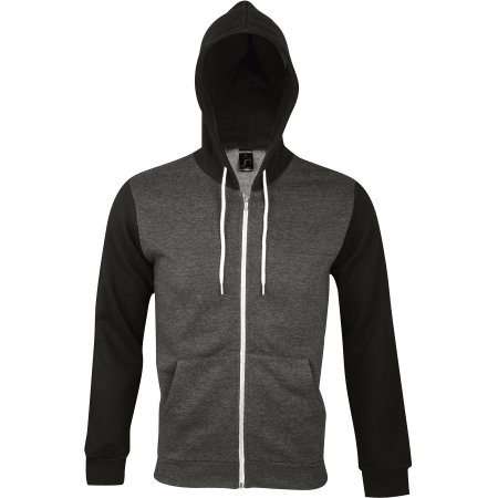 Hooded Zipped Jacket Silver in Charcoal Grey Melange|Black von SOL´S (Artnum: L477