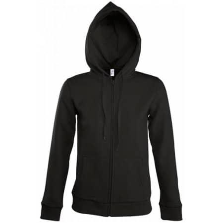 Women Hooded Zipped Jacket Seven in Black von SOL´S (Artnum: L479