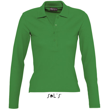 Ladies` Longsleeve Polo Podium in Kelly Green von SOL´S (Artnum: L535