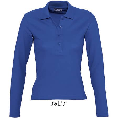 Ladies` Longsleeve Polo Podium in Royal Blue von SOL´S (Artnum: L535