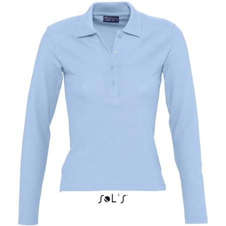 Ladies` Longsleeve Polo Podium in Sky Blue von SOL´S (Artnum: L535