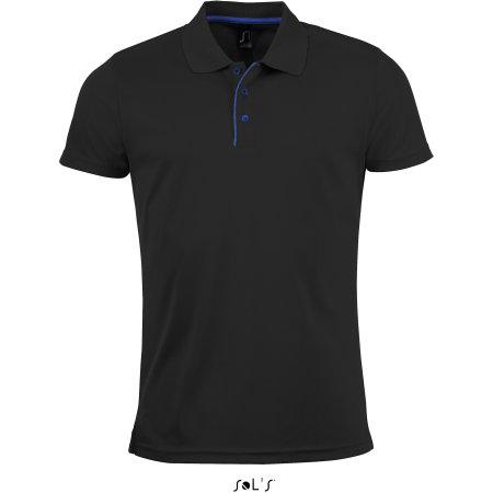 Men`s Sports Polo Shirt Performer in Black von SOL´S (Artnum: L542