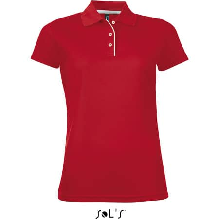 Women`s Sports Polo Shirt Performer in Red von SOL´S (Artnum: L544