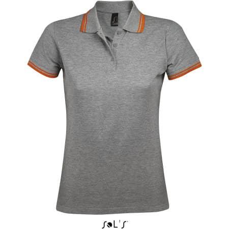 Women Polo Shirt Pasadena in Grey Melange|Orange von SOL´S (Artnum: L586