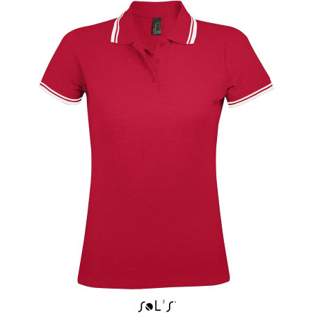 Women Polo Shirt Pasadena in Red|White von SOL´S (Artnum: L586