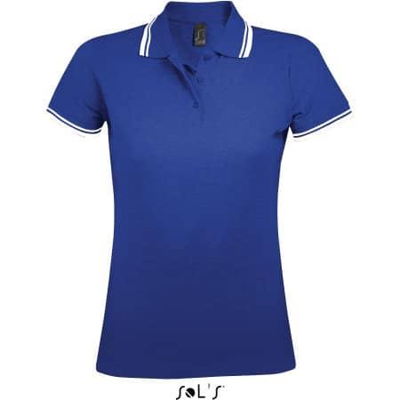 Women Polo Shirt Pasadena in Royal Blue White von SOL´S (Artnum: L586