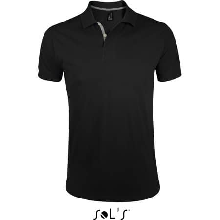 Men`s Polo Shirt Portland in Black|Grey (Solid) von SOL´S (Artnum: L587