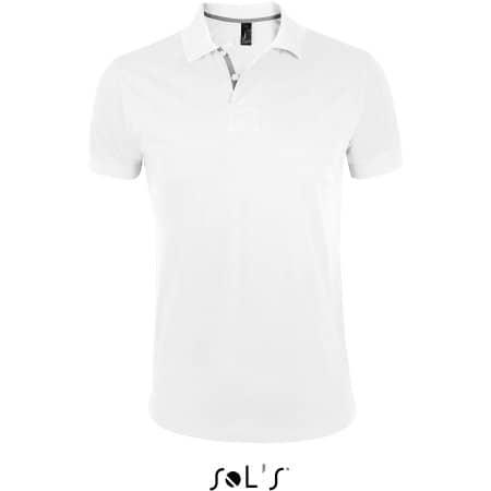 Men`s Polo Shirt Portland in White Grey (Solid) von SOL´S (Artnum: L587