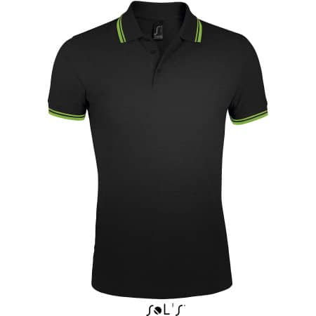 Men`s Polo Shirt Pasadena in Black|Lime von SOL´S (Artnum: L591