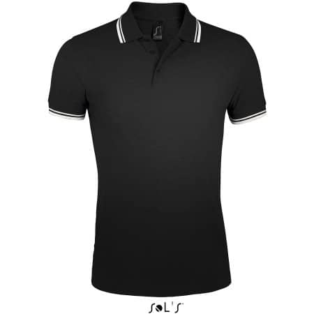 Men`s Polo Shirt Pasadena in Black|White von SOL´S (Artnum: L591