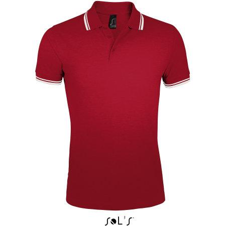 Men`s Polo Shirt Pasadena in Red|White von SOL´S (Artnum: L591