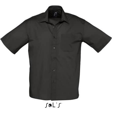 Popeline-Kurzarmhemd Bristol in Black von SOL´S (Artnum: L622