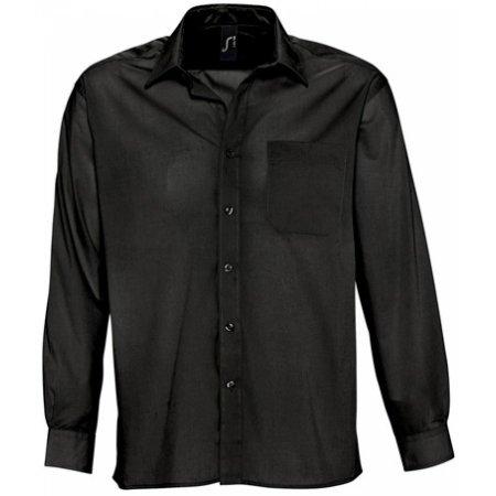 Popeline-Langarmhemd Baltimore in Black von SOL´S (Artnum: L623