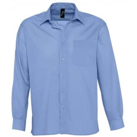 Popeline-Langarmhemd Baltimore in Middle Blue von SOL´S (Artnum: L623