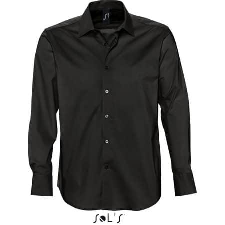 Herren Stretch-Langarmhemd Brighton in Black von SOL´S (Artnum: L633
