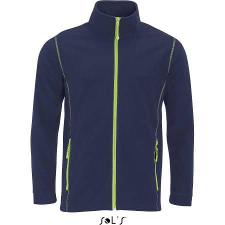 Micro Fleece Zipped Jacket Nova Men in Navy Apple Green von SOL´S (Artnum: L827